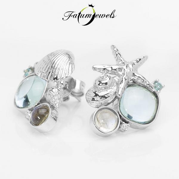 Blue Sea gyémánt topáz holdkő fülbevaló