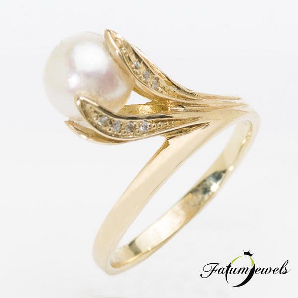 Sárga arany gyémánt gyöngy gyűrű
