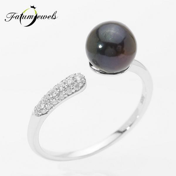 Fehérarany gyémánt fekete gyöngy gyűrű