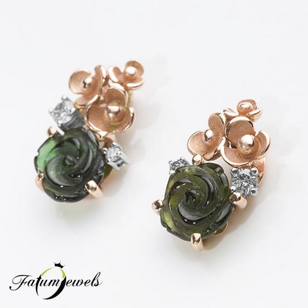 Rozé arany faragott turmalin virág gyémánt fülbevaló