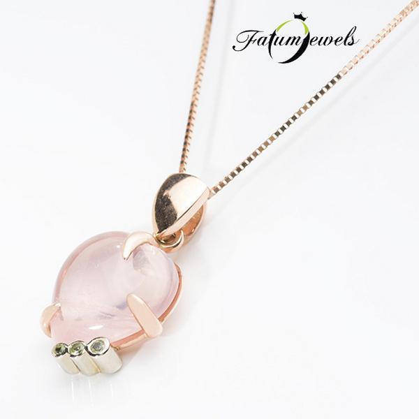 Rozé arany peridot rózsakvarc szív medál