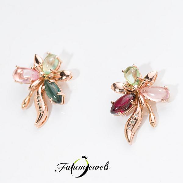 Rozé arany gyémánt turmalin fülbevaló