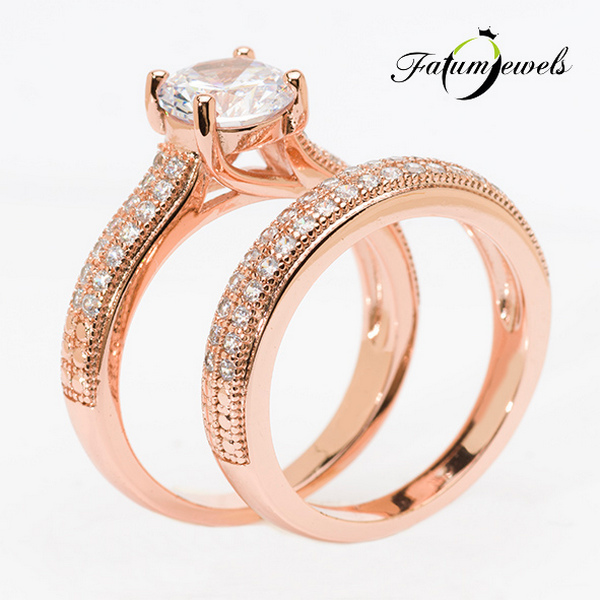 Fatumjewels Roze Fusion rozé arany gyémánt dupla eljegyzési gyűrű