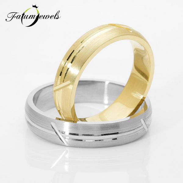 Fehérarany sárga arany karikagyűrű pár