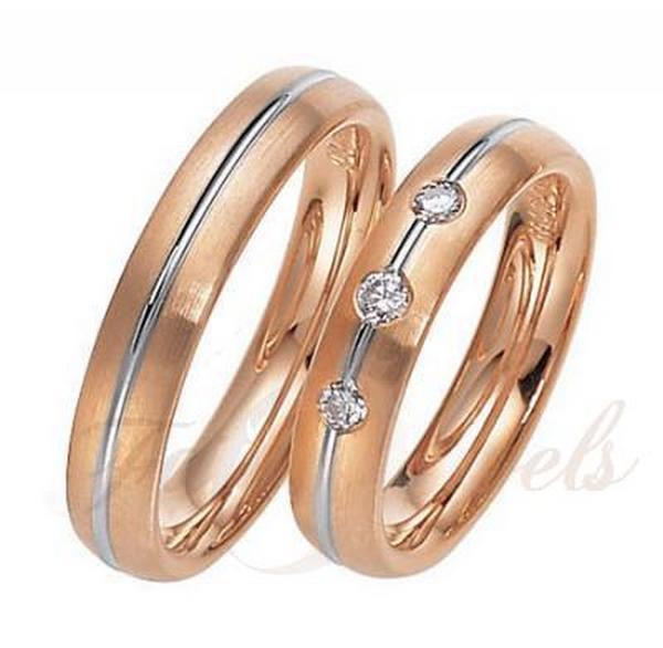 Bikolor rozé arany gyémánt karikagyűrű