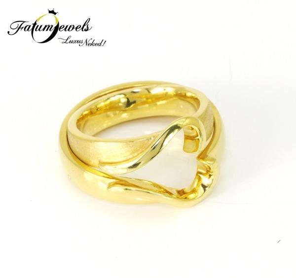 Sárga arany szív jegygyűrű