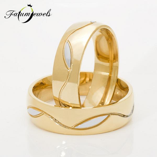 Bikolor sárga arany Fatumjewels jegygyűrű