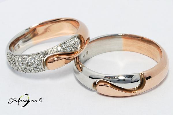 Bikolor rozé arany fehérarany gyémánt karikagyűrű
