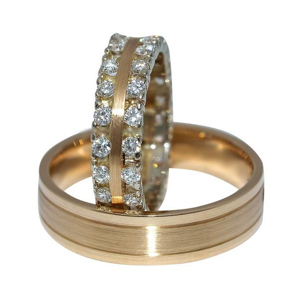 Fatumjewels vörös arany gyémánt karikagyűrű