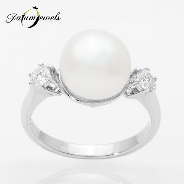 Fehérarany gyöngy gyűrű a Fatumjewelstől