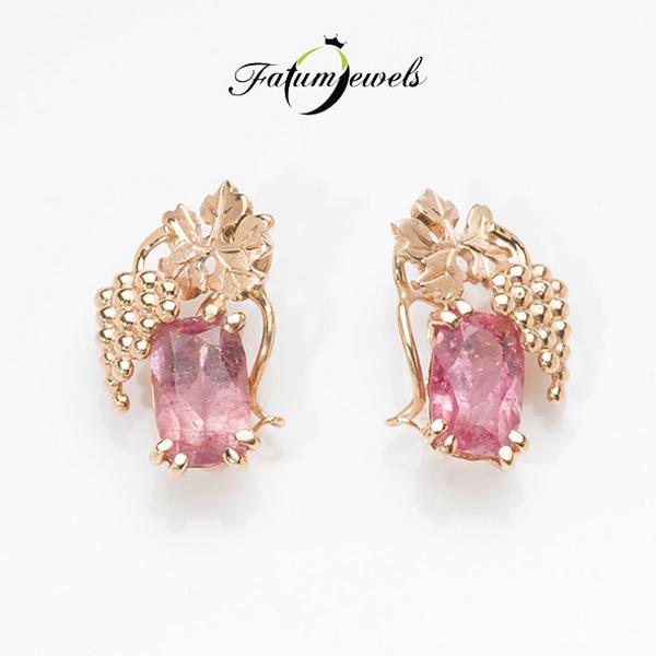 In Vino rozé arany rózsaszín turmalin fülbevaló