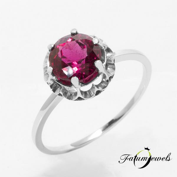 König rubellit piros turmalin gyűrű