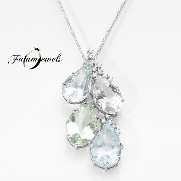 Akvamarin gyémánt berill goshenit heliodor medál