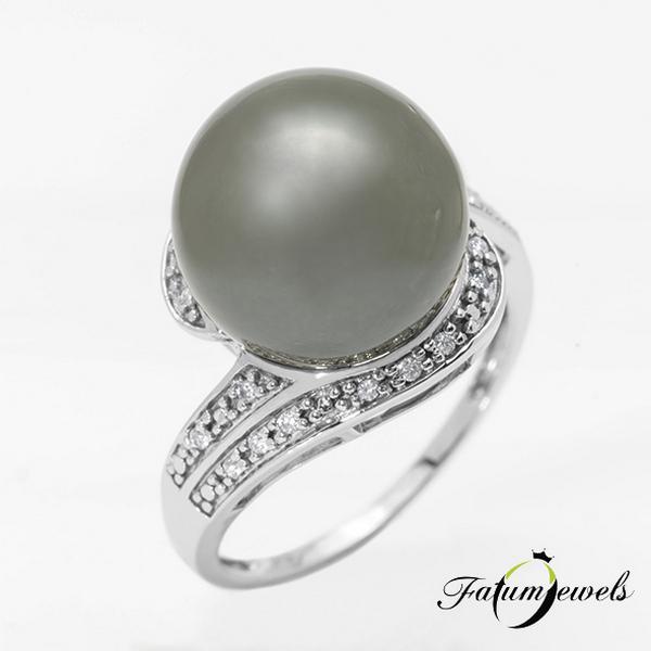 Fehérarany gyémánt tahiti gyöngy gyűrű
