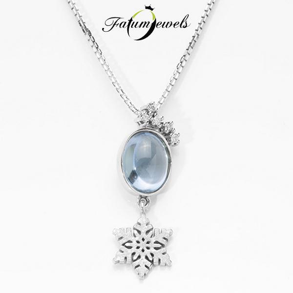 Fehérarany gyémánt topáz medál nyaklánccal télre