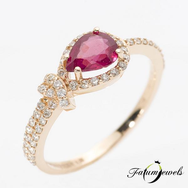 Egyiptom rozé arany rubin gyémánt gyűrű