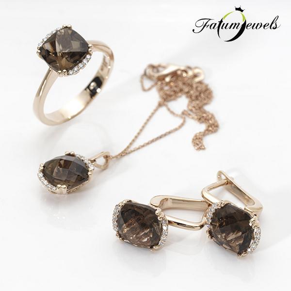 Fatumjewels rozé arany gyémánt füstkvarc szett