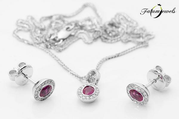 Fehérarany gyémánt rubin szett a Fatumjewelsnél