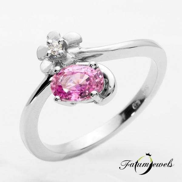 Gyémánt rózsaszín zafír eljegyzési gyűrű