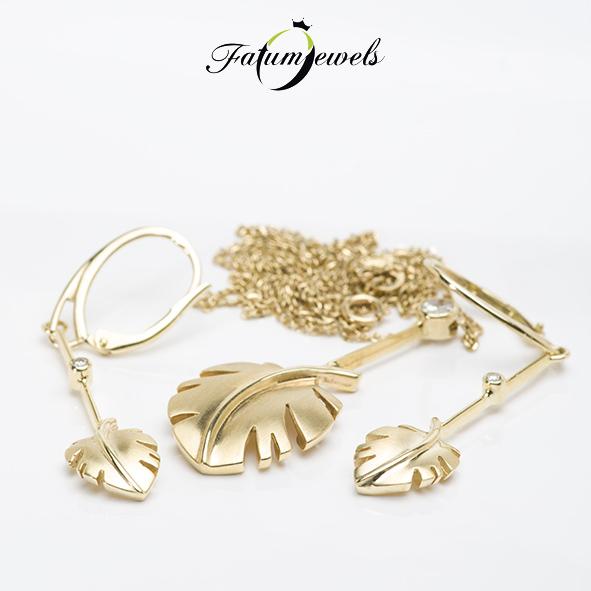 Arany levél gyémánt szett a Fatumjewels Galériában