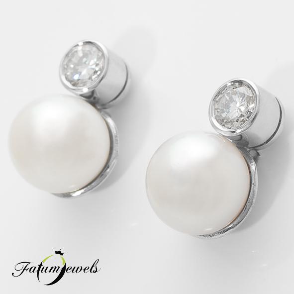 Gyémánt gyöngy fülbevaló