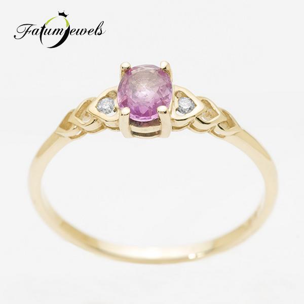 Rózsaszín zafír gyémánt gyűrű