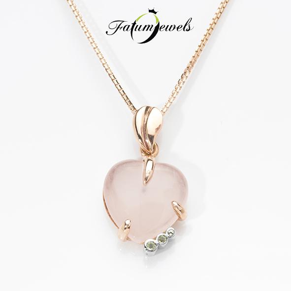 Rózsakvarc szív medál a Fatumjewels Galériában