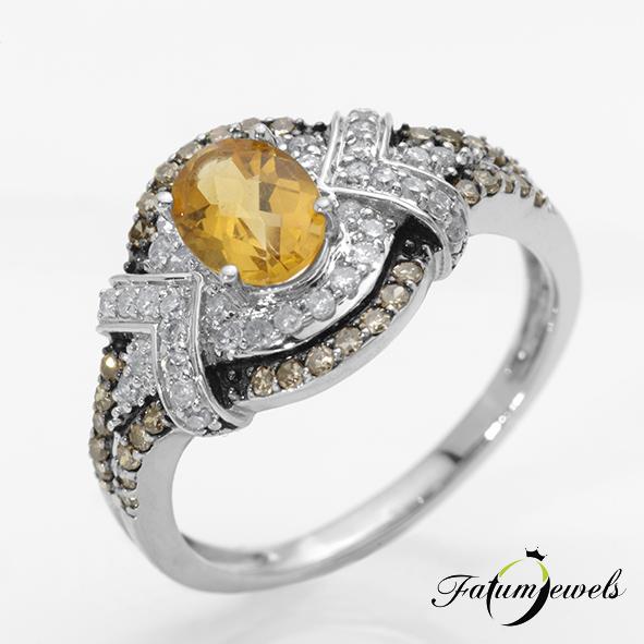 Gyémánt citrin gyűrű fehér és konyak gyémánt