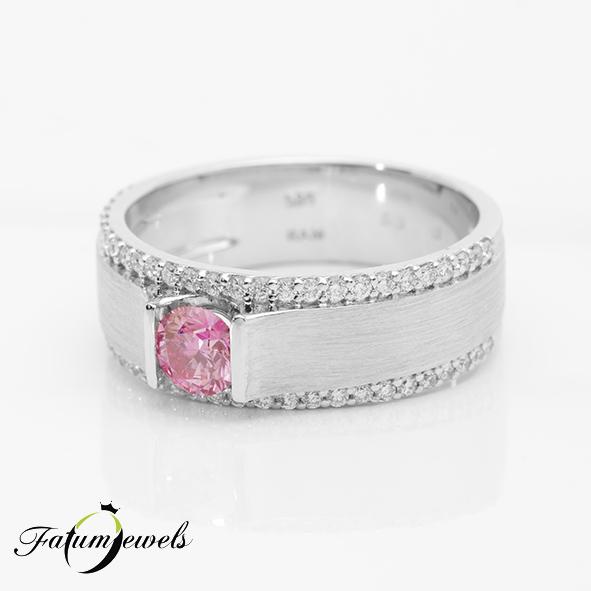 Fehérarany rózsaszín gyémánt gyűrű