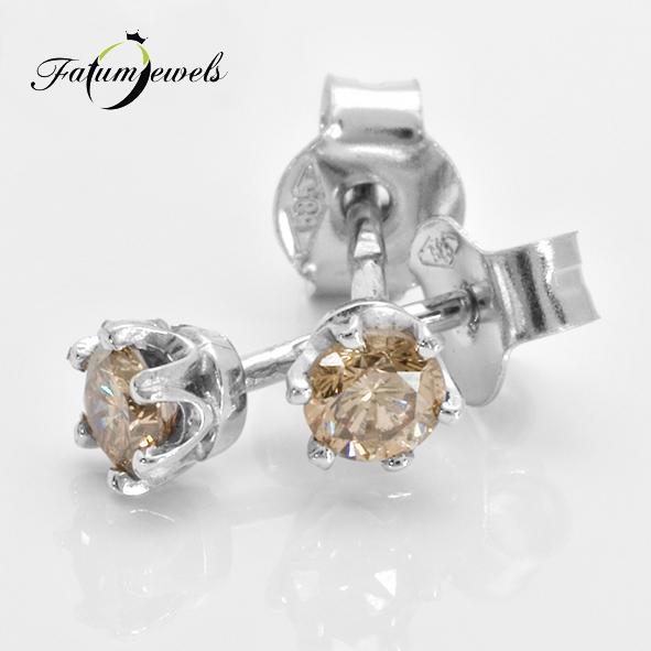 Fehérarany fülbevaló konyak gyémánt drágakővel