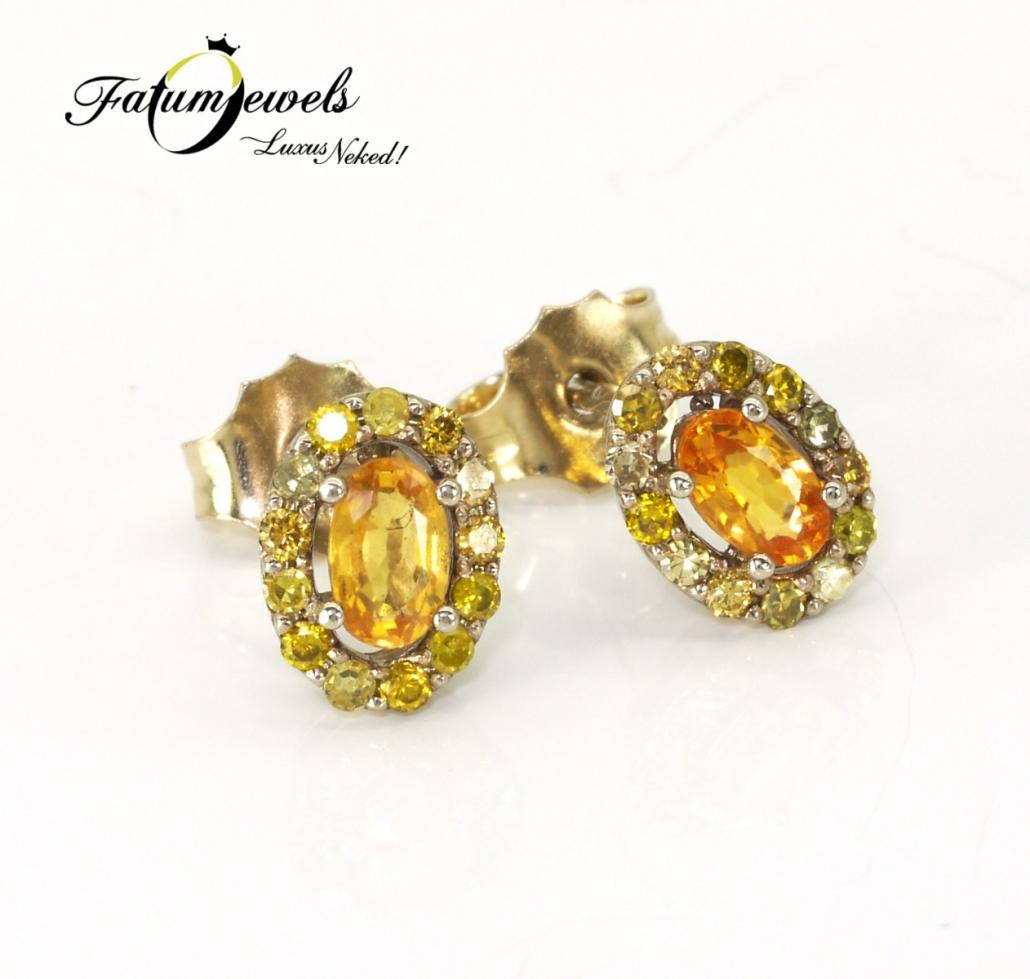 Sunshine fülbevaló sárga gyémánt és zafír drágakővel