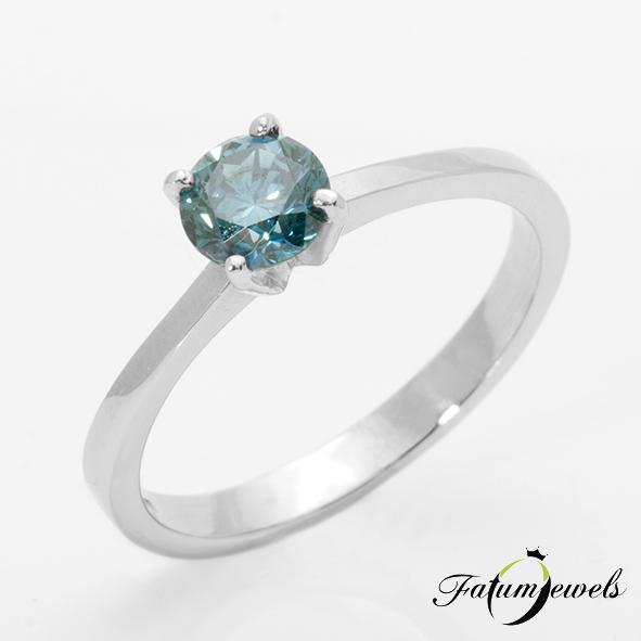 Eljegyzési gyűrű kék gyémánt drágakővel
