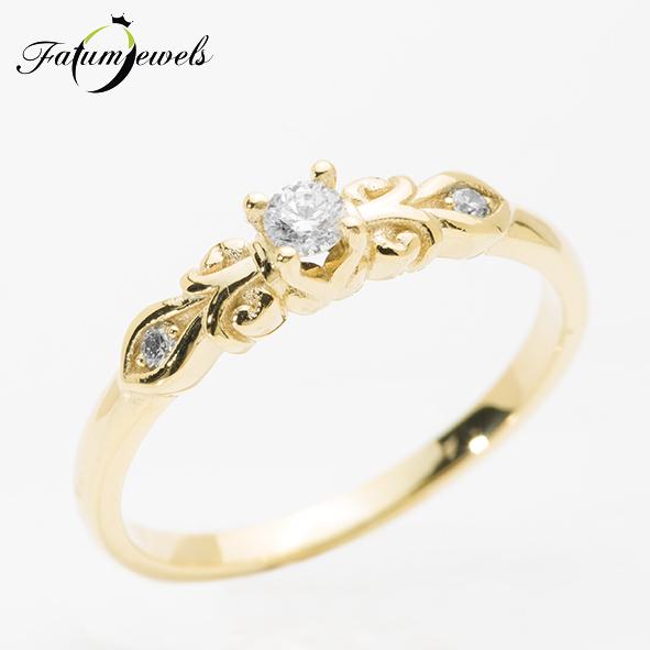 Vintage sárga arany gyémánt gyűrű
