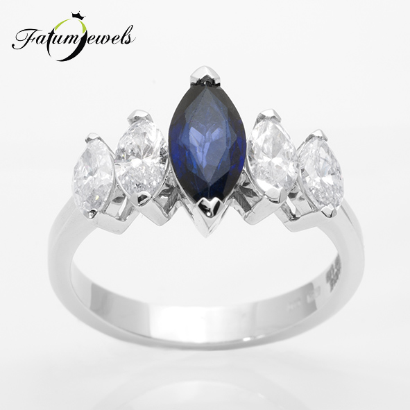 Márkiz gyémánt zafír gyűrű a Fatumjewels Galériában
