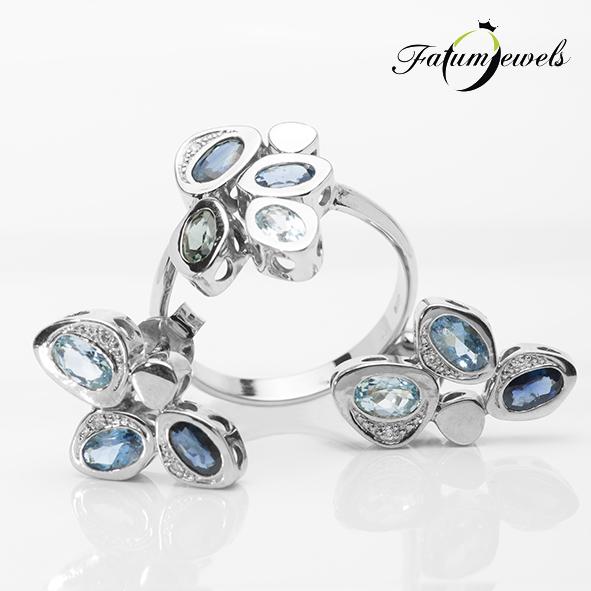Fehérarany gyémánt akvamarin topáz zafír szett