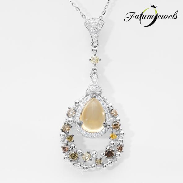 Rusztikus színes citrin gyémánt medál nyaklánccal