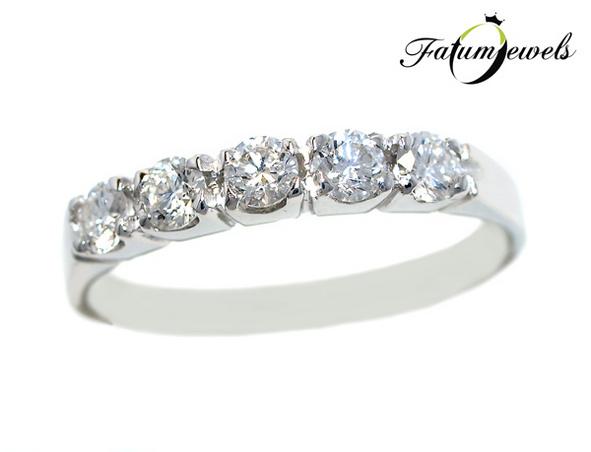 Többköves gyémántsor gyémánt eljegyzési gyűrű