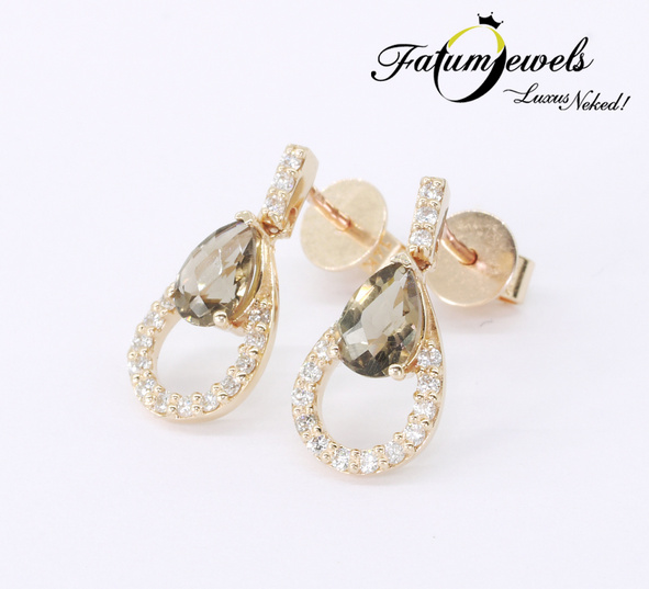 Rozé arany gyémánt füstkvarc fülbevaló
