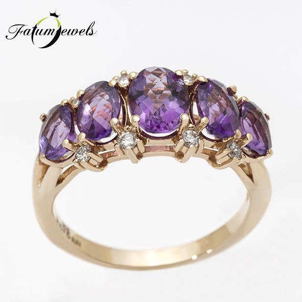 Rozé arany gyémánt ametiszt gyűrű