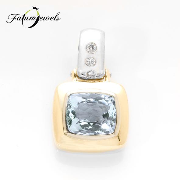Bikolor gyémánt akvamarin medál