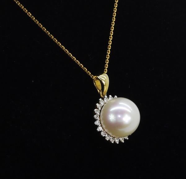 Sárga arany gyöngy gyémánt medál