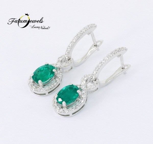 Vénusz Titka gyémánt smaragd fülbevaló Fatumjewels tervezés