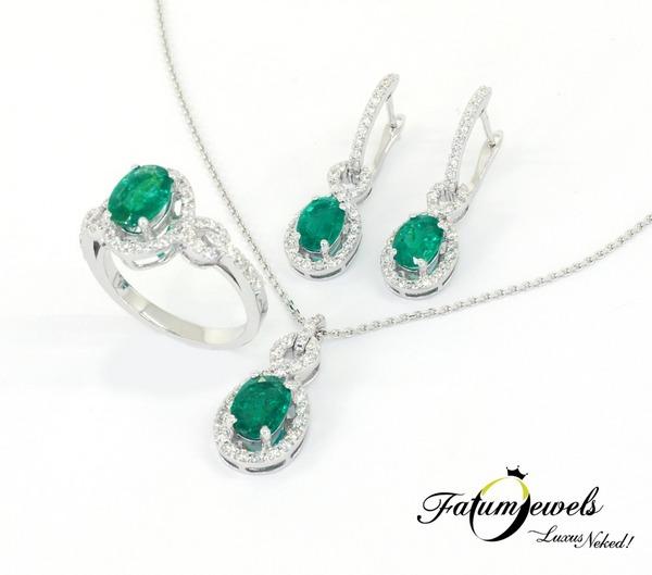 Vénusz Titka gyémánt smaragd szett Fatumjewels tervezés