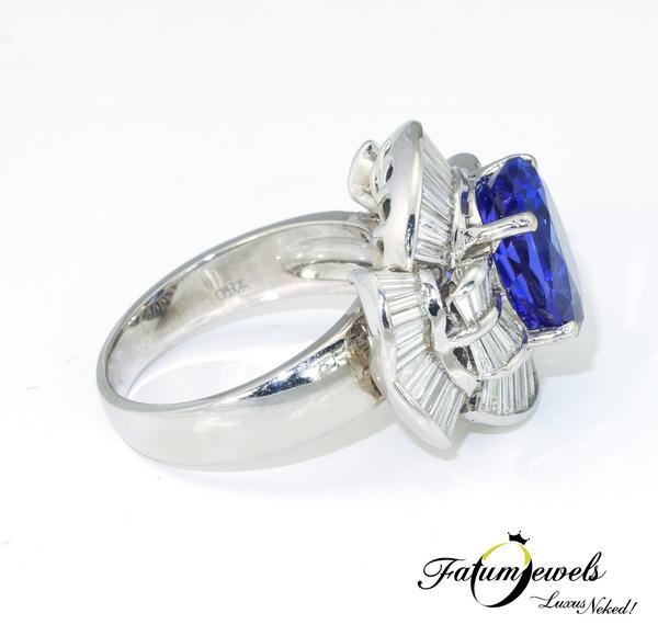 Tanzánia Éke egyedi gyémánt tanzanit gyűrű a Fatumjewelstől