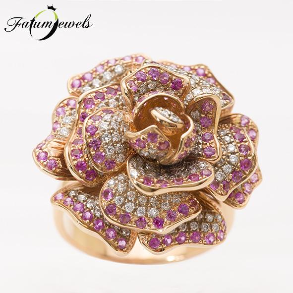 Fatumjewels Csipkerózsika rozé arany gyémánt pink zafír gyűrű