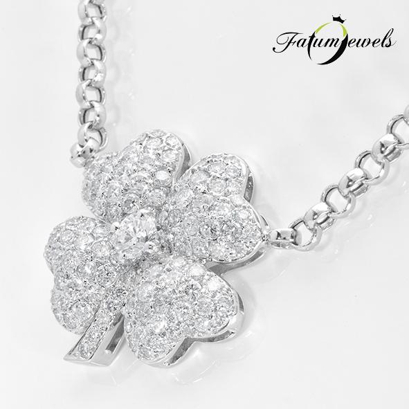 Lóhere fehérarany egyedi gyémánt nyakék