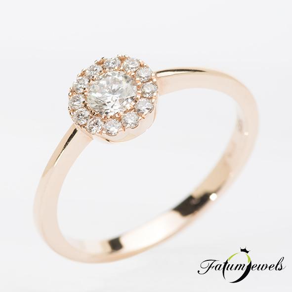 Rozé arany gyémánt halo eljegyzési gyűrű