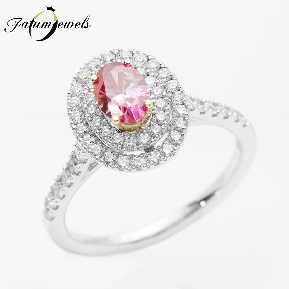 Fehérarany rózsaszín gyémánt halo gyűrű