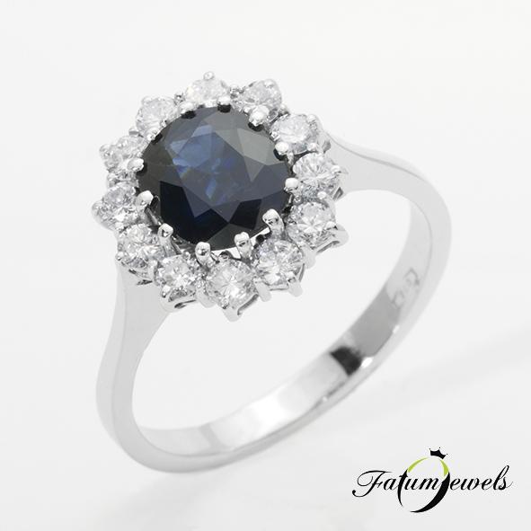 Fehérarany karmazált gyémánt zafír halo gyűrű