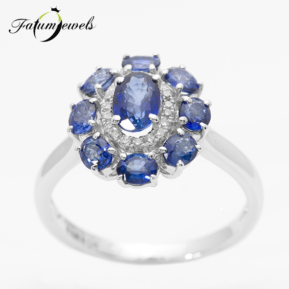 Fehérarany gyémánt zafír halo eljegyzési gyűrű